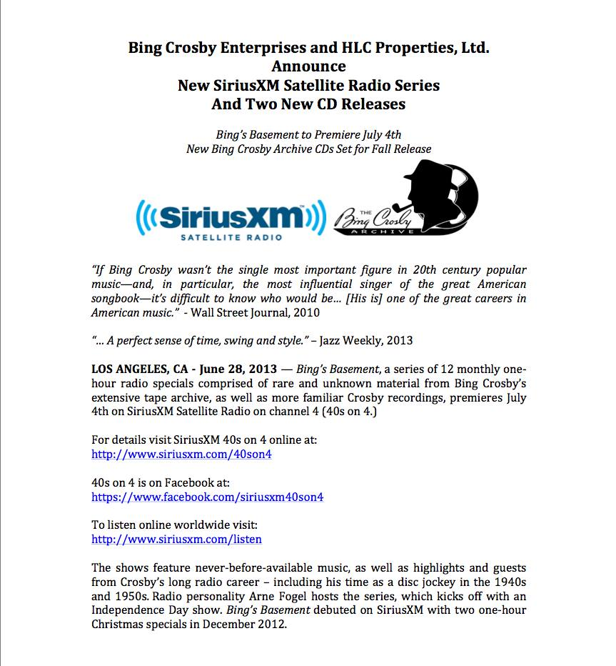Bing Crosby Enterprises press release